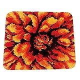 non-brand Knüpfset Teppich Erwachsene, Knüpfteppich zum Selberknüpfen, 45x45cm Wohnzimmer Teppich Latch Hook Kit für Kinder und Anfänger - Blume