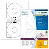 Herma 4471 CD-Etiketten blickdicht (Ø116 mm, Innenloch groß, auf DIN A4 Papier, matt) 200 Stück auf 100 Blatt, weiß, mit Zentrierhilfe, selbstklebend, PC-bedruckbar