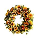 Deko Kranz Wandkranz Künstliche Girlande Dekoration - Sonnenblumen Kranz Ornamente für Tür Wand Europäischen Stil Hochzeit Fotografie Requisiten Außendurchmesser 40 CM