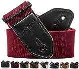 ephem - Gitarrengurt für E-Gitarre, Westerngitarre & Akustikgitarre - Klassischer Gurt mit Mikrofaser-Leder Endmaterial (ROT, 90-160cm) - Guitar strap + E-BOOK