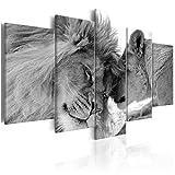 decomonkey | Wandbilder Löwe Afrika 200x100 cm 5 Teilig - Leinwandbilder | Vlies Leinwand | Wand | Bild aud Leinwand | Wandbild| Kunstdruck | Wanddeko | Bilder für Wohnzimmer Biüro Kinderzimer Küche Esszimmer Schlafzimmer Tiere Wildlife Natur schwarz weiß |