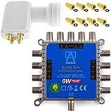 Anadol Zero Watt 5/8 - ECO - Stromloser Multischalter inklusive Quattro LNB für 8 Teilnehmer - Geringe Stromaufnahme - 0 Watt Standby Multiswitch [Digital, HDTV, FullHD, 4K, UHD]