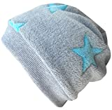 WOLLHUHN Warme Beanie-Mütze / Babymütze grau mit helltürkisfarbenen Sternen, Wellnessfleece, für Jungen und Mädchen, 20160810, Größe XXS: KU 36/40 (bis ca 6 Mon.)