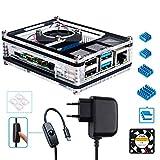 Miuzei Gehäuse für Raspberry Pi 4 mit Lüfter Kühlung, 4 × Aluminium Kühlkörper, 5V 3A USB-C Netzteil mit EIN/Aus Schalter für Raspberry Pi 4 Modell B