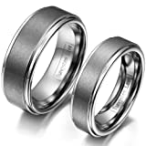 JewelryWe Schmuck 1 Paar Wolfram Wolframcarbid Poliert Gebürstet Partnerringe Freundschaftsringe Eheringe Trauringe Verlobung Ringe Band, Silber
