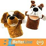 Tier Handpuppen 2er Set - Premium Qualität, 24 cm Weicher Plüsch Handpuppen für Kinder - perfekt zum Geschichtenerzählen, Lehren, Vorschule, Rollenspiel - von BetterLine (Zwei Hunde)