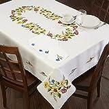 Kamaca Stickpackung SOMMERBLUMEN Stielstich Plattstich Nadelmalerei vorgezeichnet aus 100% Baumwollevorgedruckte Stickvorlage zum Selbersticken (Tischdecke 150x300 cm)