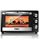 TIBEK MiniBackofen | Backofen mit Herausnehmbarem Krümelblech | 100°- 250°C Mini-Öfen | Pizzaofen | Edelstahl Ofen Inklusive Grill und Backblech | 60-Minuten | 1500W