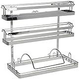 WENKO 5880100 Magic-Loc Küchenrollenhalter Trio - Befestigen ohne bohren, verchromtes Metall, 33 x 32 x 16 cm, Silber glänzend