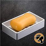 Wangel Seifenschale Seifenhalter ohne Bohren, Patentierter Kleber + Klebestreifen, Seifenablage für Badzimmer Dusche, Küche, Aluminum and ABS-Kunststoff