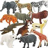 Spielzeug Tier Set - Zoo Tiere Spielzeug - große Tiere Set - Spielzeug Tierfigur Kunststoff Multi Style Wildtier Figur Geschenk Set - für Kinder und Sammler (Set von 12)