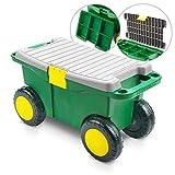Kunststoff Gartenwagen mit Sitz und Staufächern - 550x265x295 mm