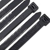 Kabelbinder 300 mm x 7,6 mm, UV-Beständig ultra starke Kabelbinder mit 50 kg Zugfestigkeit, Schwarz 100 Stück