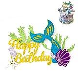 YeeStone Meerjungfrau Kuchen Toppers Glitzer Meerjungfrau Kuchendekoration Alles Gute Zum Geburtstag Kuchen Picks - Für Meerjungfrau Baby Shower Birthday Party Supplies