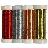 com-four 4X 25 g Bindedraht in Verschiedenen Farben, Wickeldraht zum Basteln und Modellieren, Ø 0,35 mm (04 Stück - Bindedraht 100g bunt)