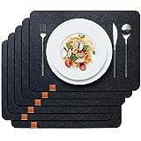 Sidorenko Edles Platzset aus Filz 6er Set anthrazit - Tischset Abwischbar 44x32 cm Filzuntersetzer - Waschbare Tischuntersetzer Platzdeckchen - grau Untersetzer Filzmatte