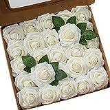 Ksnrang Künstliche Rosen Blumen Schaumrosen Foamrosen Kunstblumen Rosenköpfe Gefälschte Kunstrose Rose DIY Hochzeit Blumensträuße Braut Zuhause Dekoration (25 Stück, Elfenbein)