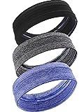 3 Stücke Stirnband Schweißband Elastische Sport Kopf Bands Rutschfeste Feuchtigkeitstransport Headwear für Männer und Damen, 3 Farben