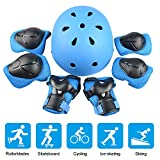 Kinder Sport-Schutzausrüstung, 7PCS Knieschoner Ellenbogenschoner Handgelenkschutz Helm Schutzset zum Draussen Rollschuhlaufen Inline Skates Skateboarding Radfahren Von JIM'S STORE (Blau)