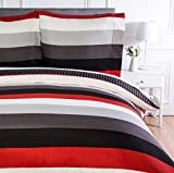 AmazonBasics - Bettwäsche-Set, Mikrofaser, 155 x 220 cm, Rot, schlicht gestreift