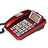 Uioy Telefon/Festnetz/Festnetzanschluss/Anrufer-ID/übergroßer Klingelton/ältere Haushaltsmaschine (Color : Red)