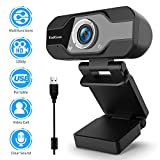 TedGem Webcam, 1080P, PC Webcam mit Mikrofon Full HD Webcam USB Webcam Streaming Webcam für Videoanrufe und Aufnahme, klein/flexibel/einstellbar, unterstützt Windows, Android, Linux