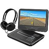 WONNIE 10.5' Tragbarer DVD-Player, Schwenkbaren Bildschirm, HD Display 4-5 Stunden Akku, USB / SD Slot Mit Kopfhörer, Perfekte Geschenke für Kinder (Schwarz)