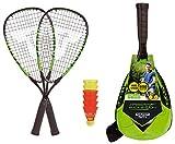 Talbot-Torro Speed-Badminton Set Speed 5500, 2 handliche Alu-Rackets 56,5cm, 6 windstabile Federbälle, im trendigen Rucksack, limegrün-schwarz, 490115
