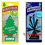 Wunderbaum 24er-Box Original Grüner Apfel Lufterfrischer Duftbaum inkl. 1 Stück Original Power Wunder-Baum Duftbäumchen Little Trees (Grüner Apfel)