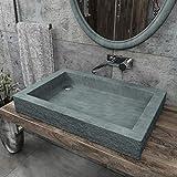 KERABAD Design Betonwaschbecken Waschtisch Aufsatzwaschbecken Waschschale aus Beton Grau eckig 70x46x10cm KB-B504