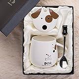 LOYWT kreative keramische Tassen, Becher, Milchkaffeetassen, Decken, Löffel, Lovers Cups, Schöne koreanische Version, Trend Mädchen, D
