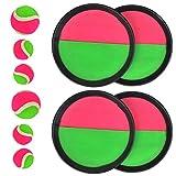 TIMESETL 10Stück Klettball Set Klettballspiel für Kinder, Neopren Klett Ball Catchball Spiel mit 4 Fangscheiben Ø 18,5cm, 2 Klettbällen Ø 6,5cm und 4 Klettbällen Ø 4,5cm für Kinderspiel