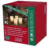 Konstsmide 1966-100 LED Dekoration 'Echtwachskerze' mit zerlaufener Wachsoptik/ für Innen (IP20) /  4er Set / Batteriebetrieben:  4xCR2032 3V (inkl.) / mit Schalter / 4 warm weiße Dioden