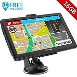 Jimwey GPS Navi Navigation für Auto LKW PKW 7 Zoll 16GB Lebenslang Kostenloses Kartenupdate Navigationsgerät mit POI Blitzerwarnung Sprachführung Fahrspurassistent 2019 Europa UK 52 Karten