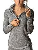 icyzone  Damen Sport T-Shirt Langarm Laufshirt - 1/2 Reißverschluss Fitness Sweatshirt Laufjacke Running Tops (M, Plume)