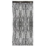 MagiDeal Vorhang Schwarz metalic Streifenvorhang Türvorhang Raumdekoration Party Deko - 2m