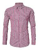 KoJooin Trachtenhemd Herren Hemd Langarmhemd Freizeithemd für Oktoberfest Freizeit Baumwolle Rot S