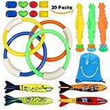 Tauchen Spielzeug Unterwasser Schwimmbad Spielzeug, 4 Stück Schwimmspielzeug Tauchringe, 4 StückToypedo Bandits, 8 Stück Edelsteine,Tragetasche, Schwimmen Spielzeug-Set für Kinder, tolles Sommer-Pool-Spielzeug und Tauchen Spiel