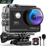 COOAU 4K Action Cam 20MP WiFi Sports Kamera Unterwasserkamera 40m mit Externs Mikrofon Fernbedienung Helmkamera Wasserdicht Digitale Videokamera mit EIS Stabilisierung (4K Wi-Fi)