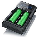 CSL - USB Akku Ladegerät für Li-Ion Akkus | Universale Akku Ladestation / Recharger | intelligente Mikroprozessorgesteuerte Ladetechnologie | LCD-Display mit blauer Hintergrundbeleuchtung | für wiederaufladbare 3,7V + 3,6V Li-Ion Akkus