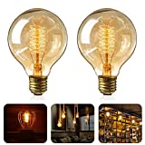 Edison Vintage Glühbirne, 2 Stück Globe Glühlampe Retro LED Glühbirne Warmweiß E27 40W Nostalgie Glühlampe Dimmbar Spiral Faden Dekorativ Lampe Ideal für Dekorative Beleuchtung im Haus Café Bar usw