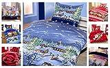 Winter Kuschel Flausch Fleece Bettwäsche Weihnachten Designs, X-Mas Landschaft 2x 135x200 + 2x 80x80