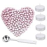 200 Stück achteckige Siegelwachsperlen mit Aufbewahrungsbox + 4 Teelichter + 1 Siegelwachslöffel, Siegelwachsset für Wachsstempel, 5 Farben rose