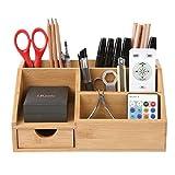 HOMFA Bambus Schreibtisch Organizer Aufbewahrungsbox Organisation Stiftebox Stifteköcher Stiftehalter Schreibtischorganizer 25x15x11cm