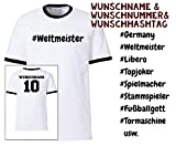 Deutschland Shirt Herren Fußball WM 2018 Fanshirt Trikot mit eigenem Namen, Rückennummer, Hashtag
