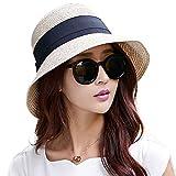 SIGGI beiger Sonnenhut Strandhut Sun Shade Hut Sonnenschutz mit breite Krempe für Damen