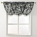 NAPEARL im europäischen Stil Jacquard Sheer Vorhang Organza Perlen Querbehang Fenster Behandlung Dekoration, schwarz, 1 Valance 57' Wx37 L