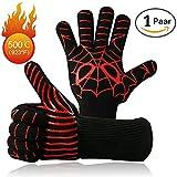 Premium BBQ GrillHandschuhe Set von 2 bis zu 500 ° C Ofenhandschuhe Kochhandschuhe Hitzerbeständige Handschuhe für BBQ,Kochen,Backen und Schweißen (1 Paar 14 ')