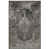 Kunstseide Teppich Vintage Ornament - Anthrazit oder Silber   klassisches Muster modern interpretiert   ultra leichter und softer Flor mit edlem Seidenglanz , Farbe:Anthrazit, Größe:160 x 230 cm