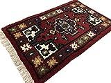 WAWA Orientteppich Brücke 40X60 cm Handgeknüpft Teppich Fussmatten Debbbich 100% Wolle (Rot-1, 2 Stück (40X60))